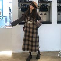 女装韩版时尚休闲套装秋冬女装POLO领针织毛衣+格子背带连衣裙两件套保暖宽松毛衣女 均码