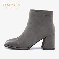【 立减120】哈森2019冬季新款加绒平跟厚底雪地靴女 拉链休闲运动短靴HA99107