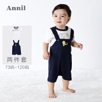 【2件35折:95】安奈儿童装男婴儿背带裤两件套2019夏装新款宝宝夏季套装休闲舒适