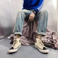 日系原宿ins风街拍高帮帆布鞋黑色男士运动滑板鞋韩国ulzzang潮