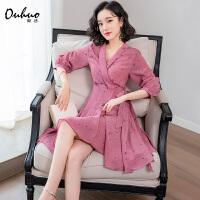 印花连衣裙女夏季2019新款流行七分灯笼袖不规则很仙的小个子裙子