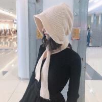 韩国复古纯色护耳毛线帽子女秋冬季日系百搭保暖系带可爱针织帽潮