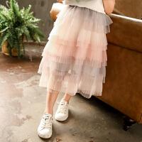 女童裙子春夏装儿童洋气网纱半身裙过膝裙宝宝蓬蓬裙