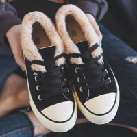 2018秋冬季新款加绒帆布鞋棉鞋韩版百搭学生冬鞋冬天女板鞋小黑鞋