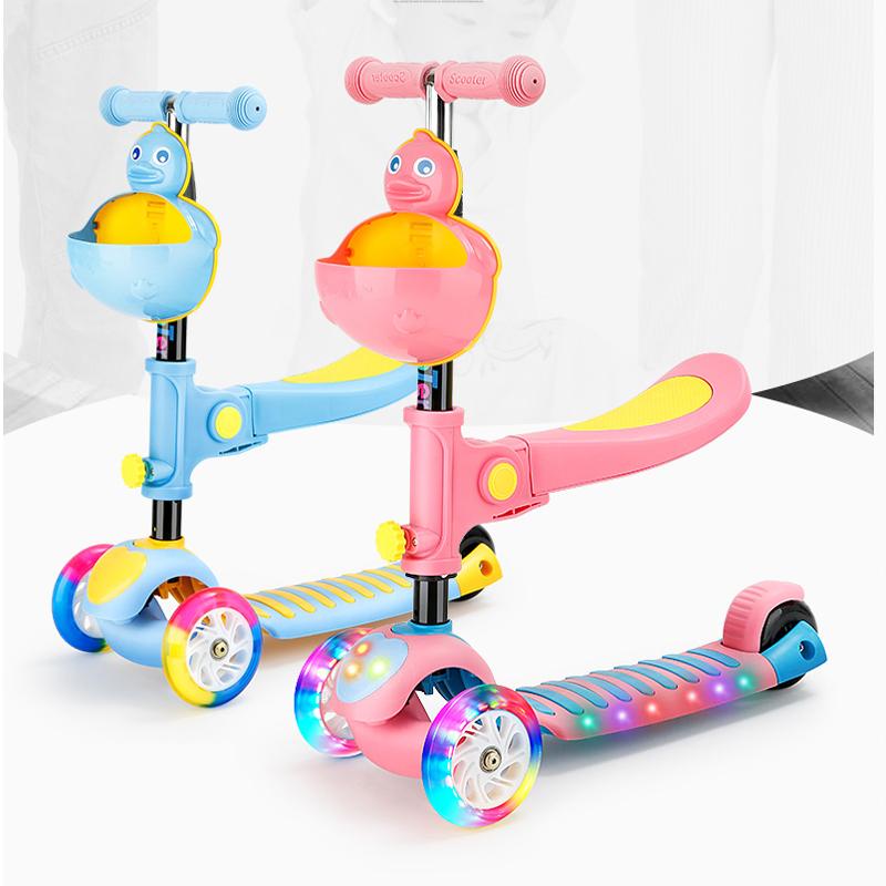 幼儿小孩滑滑车三合一可坐溜溜车女孩男宝宝滑板车儿童1-2-3-6岁