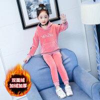 儿童套装 女童休闲加厚套装2020冬季新款女童中大童韩版字母whitc潮流 金丝绒两件套
