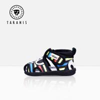 TARANIS 泰兰尼斯童鞋宝宝凉鞋女夏季包头叫叫鞋男幼婴儿软底学步鞋棉布不掉鞋
