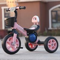 男女儿童三轮车 带斗2-3-5岁手推 宝宝自行车小孩儿童脚踏车溜娃车 藕色 钛空轮+音乐款粉