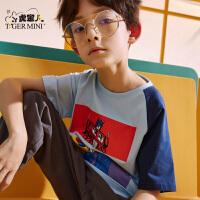 【3件2折:37.8元】小虎宝儿男童短袖t恤2021新款儿童纯棉宽松童装中大童洋气