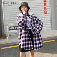 紫色格纹连帽外套女春装2019新款单排扣直筒宽松棉服女太平鸟女装