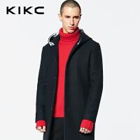 【3折价:479.7】kikc毛呢大衣男2018冬季新款黑色时尚潮流中长款宽松男士休闲外套