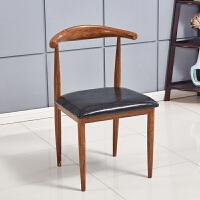 餐椅 实木椅子铁艺现代简约咖啡厅奶茶店甜品店桌椅组合家用牛角椅