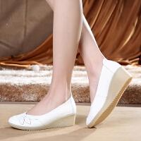 白色护士鞋单鞋女坡跟中跟坡跟舒适防滑软底春季女鞋休闲美容师