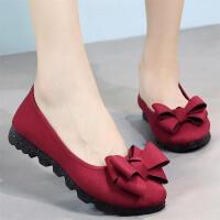 新款老北京布鞋女鞋单鞋黑色工作鞋豆豆鞋平底鞋懒人鞋一脚蹬 酒红色 16-92