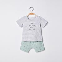 【2件3折 到手价:34】初纺2019夏季新款 男童婴幼宝宝 上下两件休闲时尚套装
