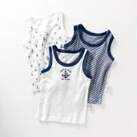 夏季儿童无袖T恤宝宝中大童纯棉背心海军风