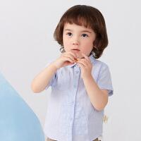 【秒杀价:129元】马拉丁童装男小童衬衫2020夏装新款图案贴布绣花百搭短袖衬衫