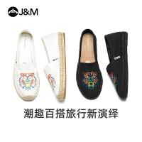 jm快乐玛丽2020春季新款平底一脚蹬百搭潮鞋帆布鞋渔夫鞋女鞋
