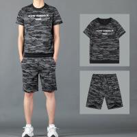 男士短袖t恤夏季套装男韩版潮流帅气运动休闲迷彩体��短裤两件套