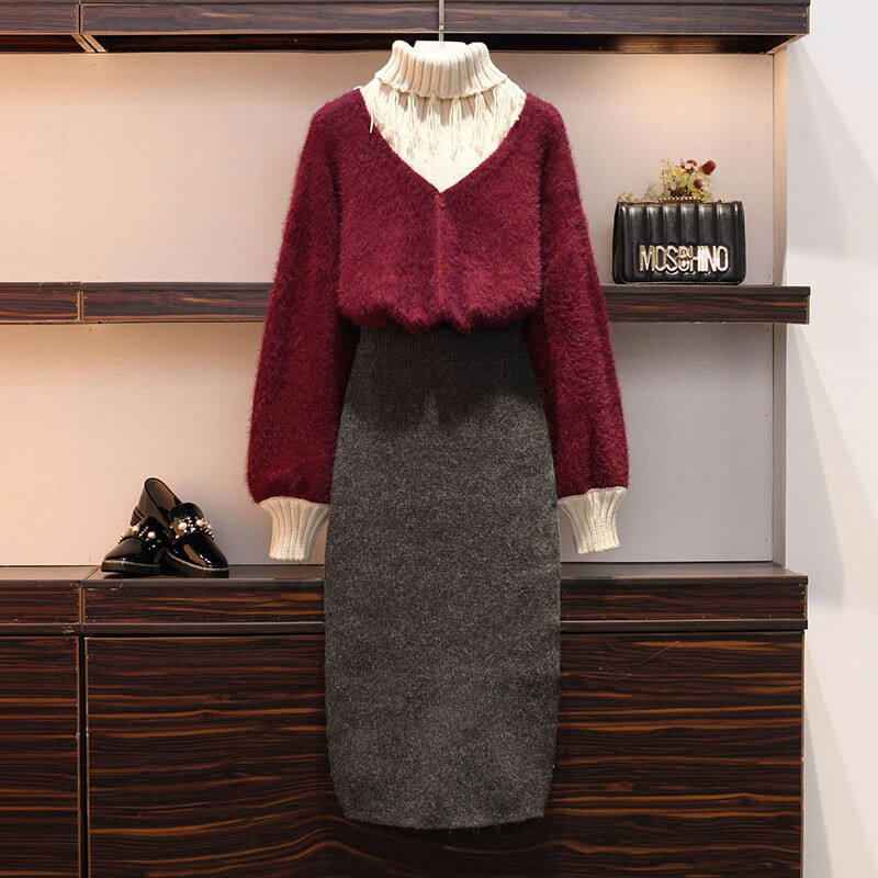 新年特惠大码女装冬2019新款女新品连衣裙微胖套装显瘦减龄毛衣洋气裙子 图片色两件套  由于快递停运,店铺于1月25日至2月13日放假,期间产生的订单将于2月15号前发