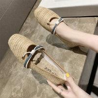 蝴蝶结套脚平底单鞋女 新款圆头浅口气质女鞋 时尚瓢鞋编织奶奶鞋