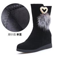 冬季新品平底内增高女短靴中筒百搭加绒滑平跟舒适女棉鞋 910磨砂面 秋季单款