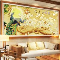 悟客WUKE 精准印花十字绣孔雀吉祥图套件新款客厅画卧室孔雀开屏十字绣牡丹花开富贵简约现代系列