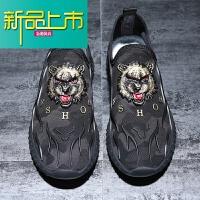 新品上市春季套脚休闲鞋男运动潮流板鞋男网布一脚蹬透气懒人个性鞋子