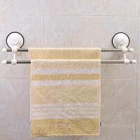 双庆 1925家居吸盘浴室卫生间双杆毛巾架 浴巾架子60CM不锈钢浴室置物架毛巾杆浴室防水壁挂架