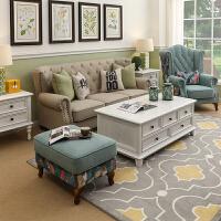 北欧现代简约沙发 美式沙发布艺乡村复古现代简约客厅田园小户型整装 图片色