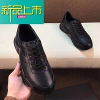 新品上市秋季18男鞋运动休闲鞋男士韩版板鞋英伦百搭潮流真皮潮鞋 黑色