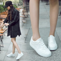 百搭小白鞋女秋冬系带学生韩版运动女鞋白色帆布鞋休闲平底板鞋潮