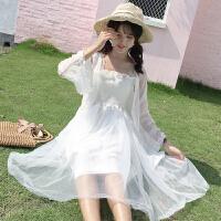 夏装女装中长款木耳边抹胸吊带连衣裙纱裙仙女裙长裙