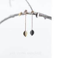 森系甜美人工珍珠耳钉不对称树叶耳环耳饰品925银耳环