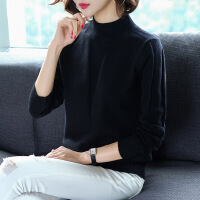 打底衫女半高领宽松衫针织女秋冬季新款纯色韩版短款套头打底毛衣百搭