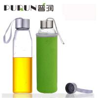 550毫升耐热玻璃水瓶创意车载玻璃杯子矿泉水瓶带盖茶杯 绿色K3125