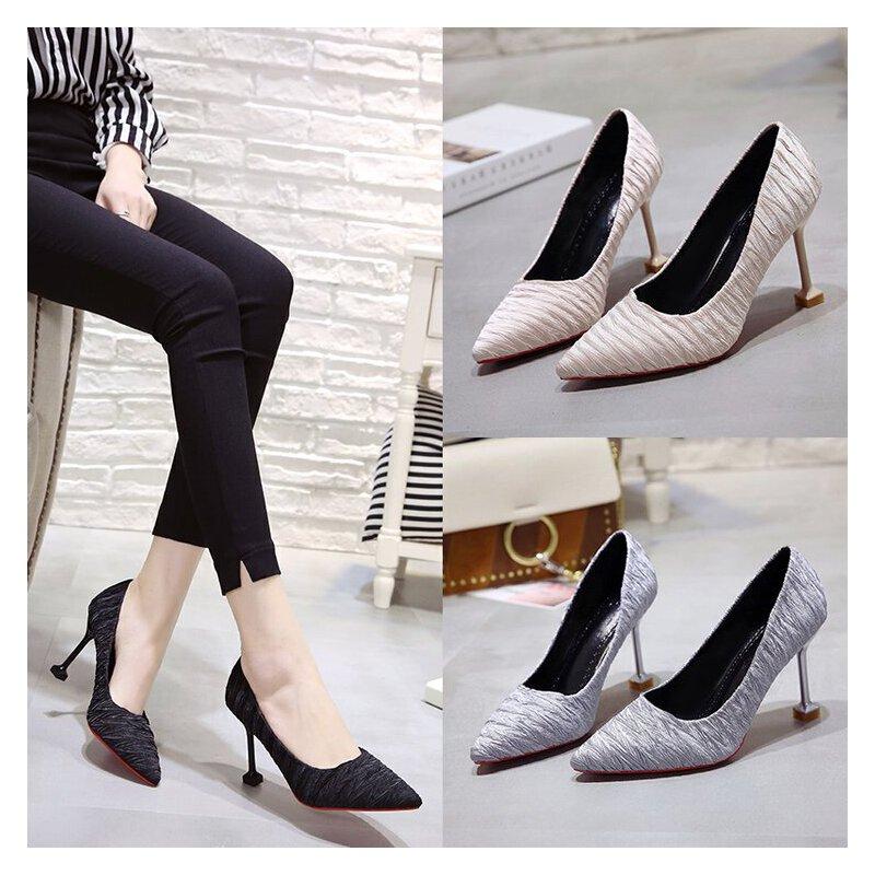 女高跟鞋细跟单鞋中跟6-8cm浅口尖头优雅单根仙女显瘦工作面试ol