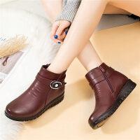 妈妈棉鞋中年女鞋平底滑中老年短靴女加绒保暖棉鞋皮靴女靴