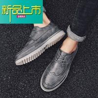 新品上市18新款雕花男鞋秋季英伦潮流复古耐磨真皮休闲厚底皮鞋男