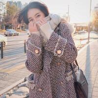 新年特惠呢子大衣女格中长款韩版2019秋冬新款加厚显瘦流苏毛呢外套女 花色