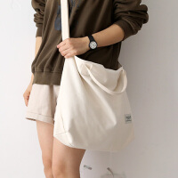 NR百搭纯色单肩斜挎包包女包新款2020大学生补习背包书包大帆布包