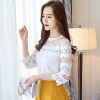 蕾丝衫女2019春夏装新款七分袖甜美花朵小衫雪纺衫上衣中袖打底衫