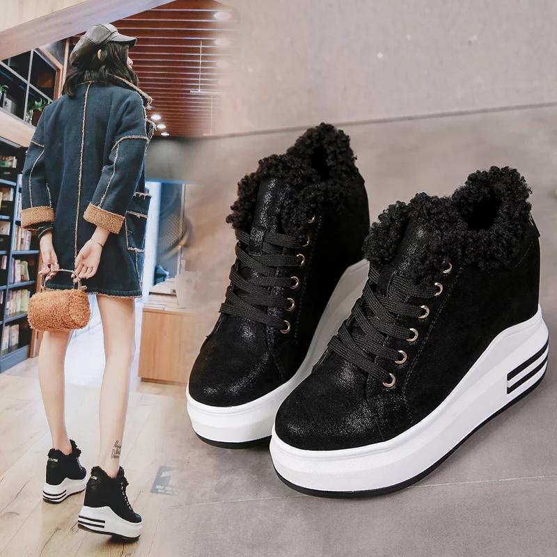加绒保暖女鞋冬季棉鞋韩版10cm超高跟运动休闲鞋加棉厚底内增高鞋 黑色 标准码