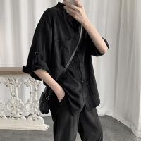【秋冬新品】高端专柜品牌系男生复古韩版潮流长袖黑衬衫秋季宽松衬衣外套