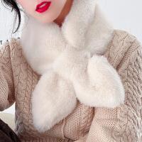 仿獭兔毛毛领围巾女冬季百搭毛绒交叉围脖护颈保暖韩版2019年新款