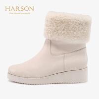 哈森2019冬季新款休闲毛边侧拉链短靴女 厚底靴子雪地靴HA92420