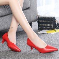红色婚鞋时尚黑色高跟鞋3-5cm浅口尖头百搭7公分单鞋皮鞋工作鞋女