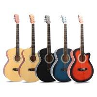 吉他民谣40 41寸单板吉他36 38 39寸古典有左手圆角电箱吉他