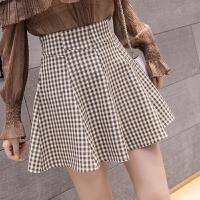 夏季新款韩版复古高腰格子半身裙女流行伞裙蓬蓬短裙配上衣潮