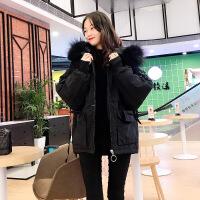 【秋冬新品】羽绒服女短款2019冬季新款黑色刺绣工装小个子羽绒 黑色 图片色